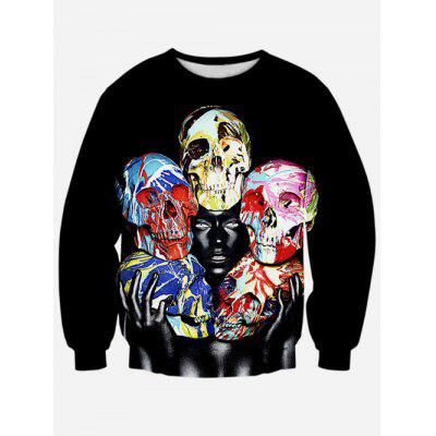 Colorful Skull 3D Print Crew Neck Sweatshirt
