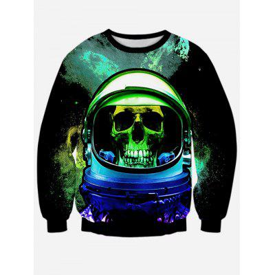 Crew Neck Long Sleeves Skull Sweatshirt