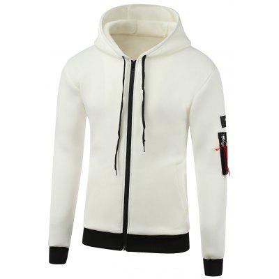 Appliques Cotton Blends Hooded Zip-Up Hoodie