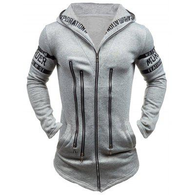 Morer Hoodie with Zipper Embellishment Letter Print