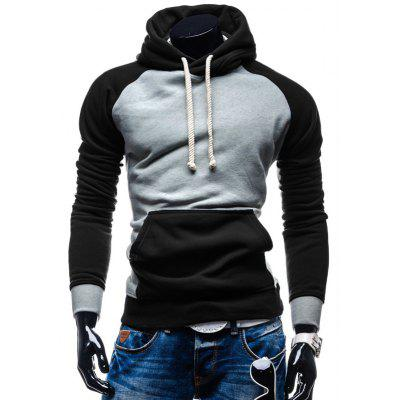 Kangaroo Pocket Color Block Pullover Hoodie