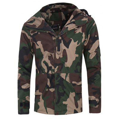 Covered Zip Up Raglan Sleeve Hooded Camo Jacket