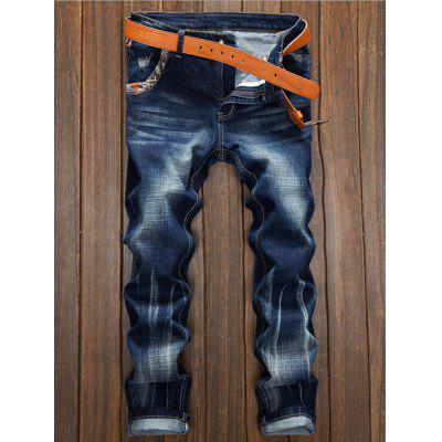 Selvedge Embellished Splicing Distressed Straight Leg Jeans