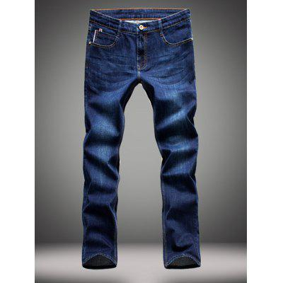 Elasticity Zipper Fly Straight Leg Jeans