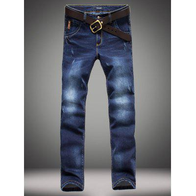 Elasticity Bleach Wash Zipper Fly Straight Leg Jeans