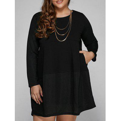 Casual Long Sleeve Plus Size Mini Dress