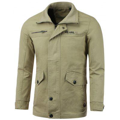 Pocket Embellished Zip-Up Lengthen Turn-Down Collar Jacket