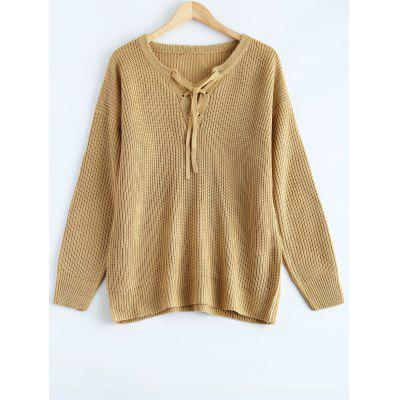Lace Up Pull Plus Size Sweater