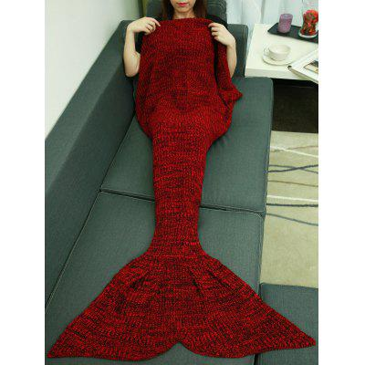 Buy DEEP RED Christmas Knitting Sleeping Bag Fish Tail Design Blanket for $13.52 in GearBest store