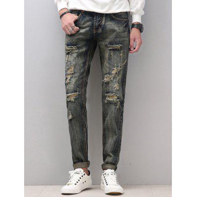 Zipper Fly Narrow Feet Cat's Whisker Distressed Jeans