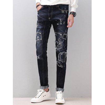 Skinny Splicing Design Distressed Jeans