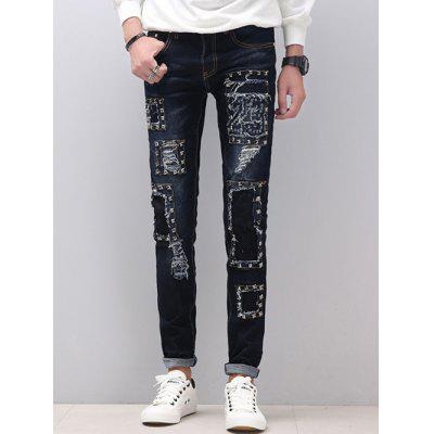 Buy BLUE Zipper Fly Stud Embellished Skinny Distressed Jeans for $41.97 in GearBest store