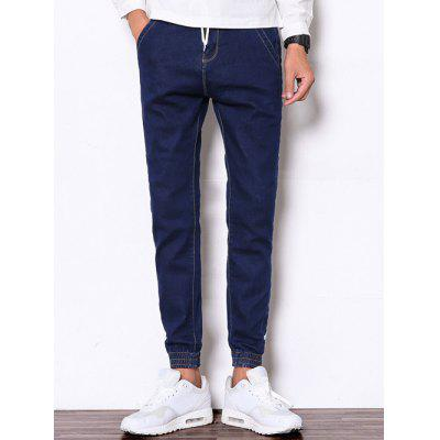 Buy DEEP BLUE Drawstring Zipper Fly Beam Feet Denim Jogger Pants for $35.41 in GearBest store