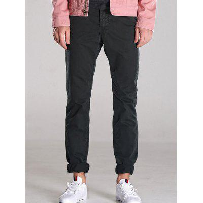 Flocking Lined Zipper Fly Casual Pants