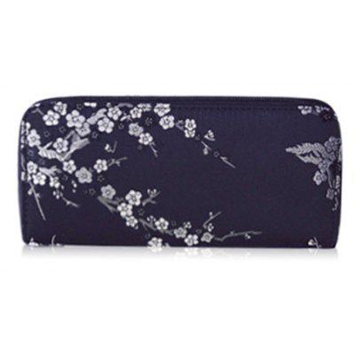 Plum Blossom Embroidery Zip Around Wallet