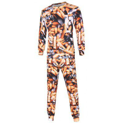 Cigarette 3D Print Sweatshirt and Drawstring Jogger Pants Twinset