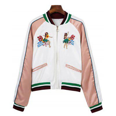 Tropical Embroidered Color Block Souvenir Jacket