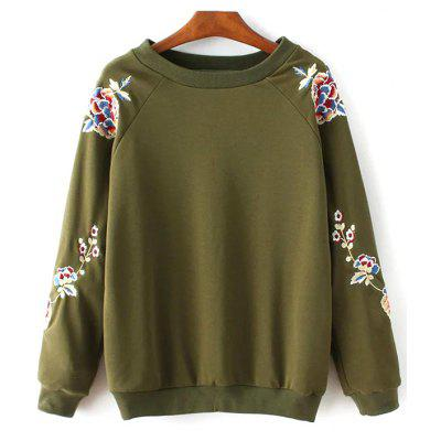 Buy ARMY GREEN Round Collar Floral Embroidered Sweatshirt for $33.70 in GearBest store