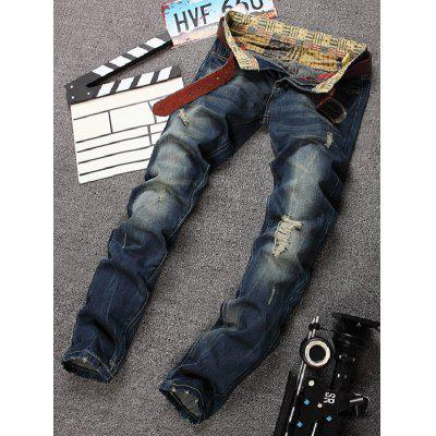 Distressed Design Bleach Wash Straight Leg Jeans