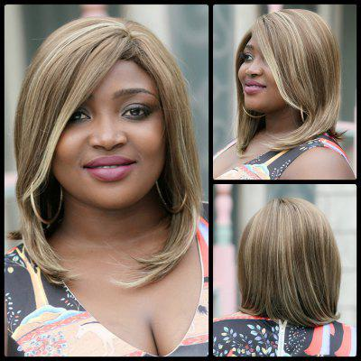 Medium Side Bang Tail Adduction Mixcolor Synthetic Wig