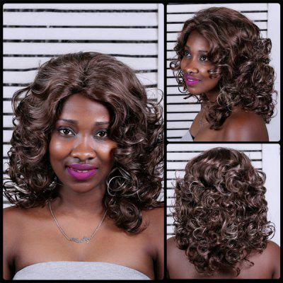 Medium Side Parting Curly Mixcolor Synthetic Wig