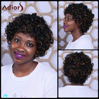 Buy COLORMIX Short Full Bang Fluffy Afro Curly Mixcolor Synthetic Wig for $24.54 in GearBest store