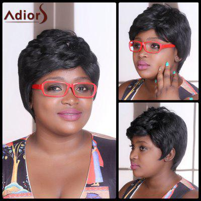 Adiors Short Fluffy Straight Inclined Bang Synthetic Wig