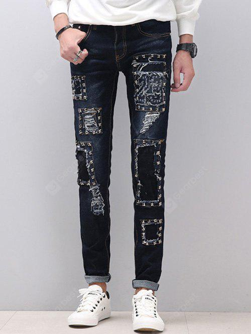 Zipper Fly schmale Füße Stud Embellished Distressed Jeans