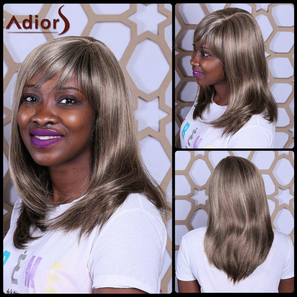 Adiors Long Side Bang Straight Mixcolor Synthetic Wig