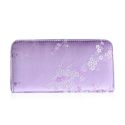 Color Block Plum Blossom Stickerei Wallet