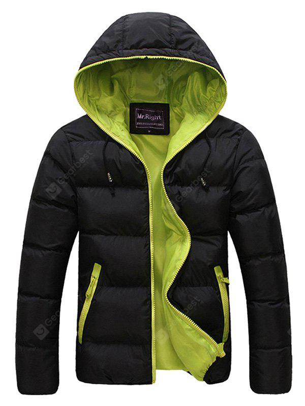 Contrast Zipper Drawstring Hooded Quilted Jacket GREEN