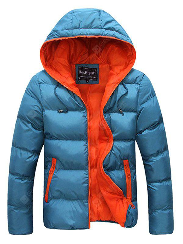 Contrast Zipper Drawstring Hooded Quilted Jacket BLUE