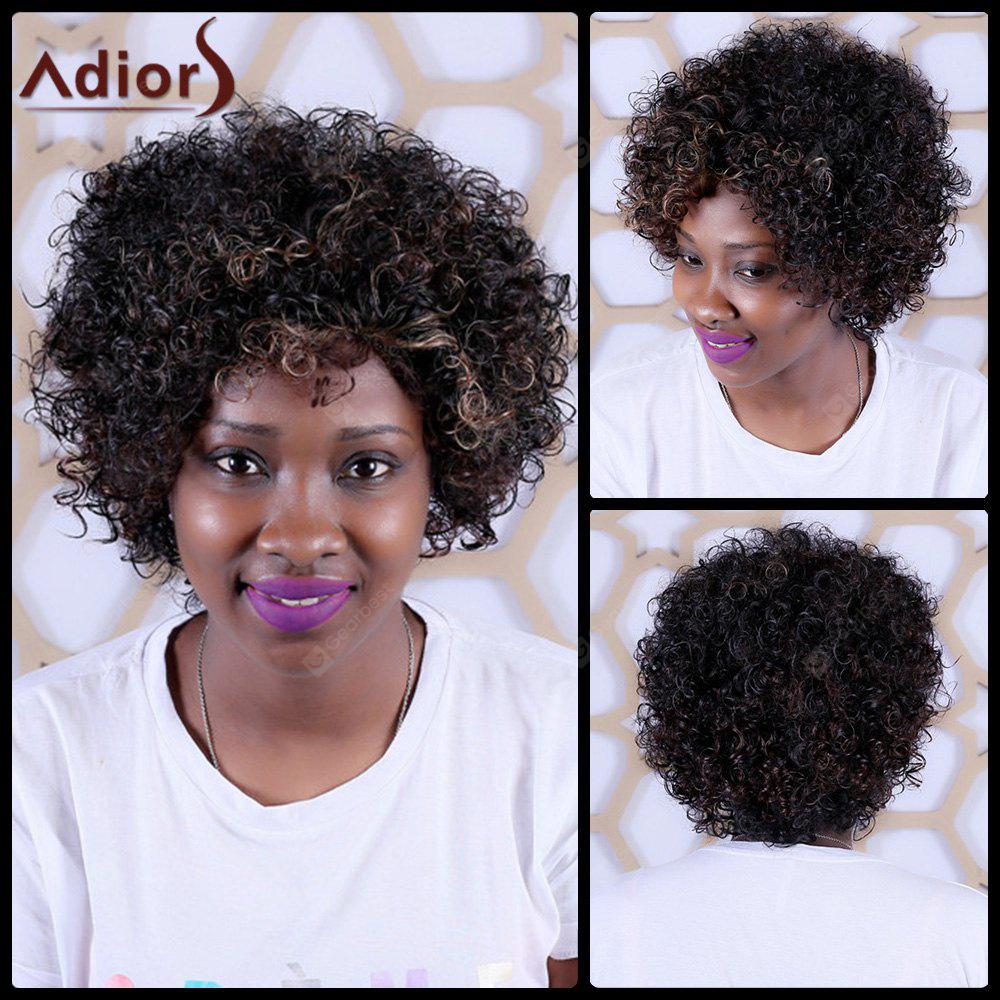Adiors Short Highlight Oblique Bang Curly Synthetic Wig