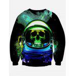 cheap Crew Neck Long Sleeves Skull Sweatshirt