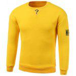 Lettres Broderie col rond manches longues Sweatshirt manches - JAUNE