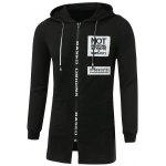 Letter Appliques Lengthen Hooded Zip-Up Hoodie - BLACK