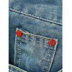 cheap Zipper Fly Holes Cat's Whisker Design Crimping Straight Leg Jeans