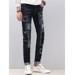 Zipper Fly schmale Füße Stud Embellished Distressed Jeans - BLAU
