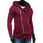 cheap Side Zipper Up Asymmetric Hoodie