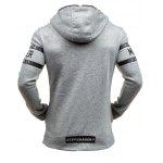 Morer Hoodie with Zipper Embellishment Letter Print - LIGHT GRAY
