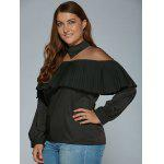 Pleat See-Through Mesh Blouse - NOIR