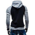 Kangaroo Pocket Color Block Pullover Hoodie - BLACK