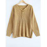 Lace Up Pullover Plus Size Sweater - KHAKI