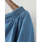 Off The Shoulder Drawstring Chambray Top - ICE BLUE