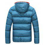 Buy Contrast Zipper Drawstring Hooded Quilted Jacket BLUE
