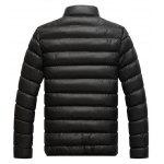 Stand Collar Contrast Zipper Quilted Jacket - BLACK