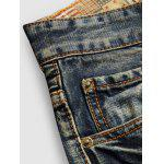 Buy Frayed Zipper Fly Straight Leg Distressed Jeans 38 BLUE