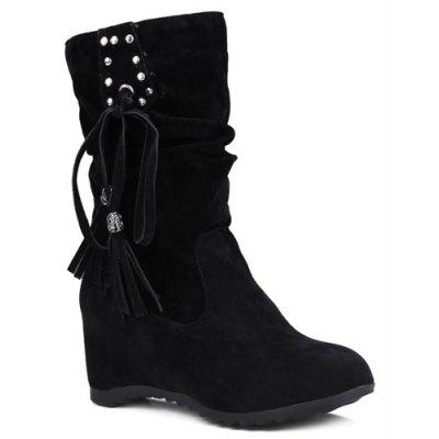 Studded Increased Internal Slip On Tassels Suede Mid Calf Boots