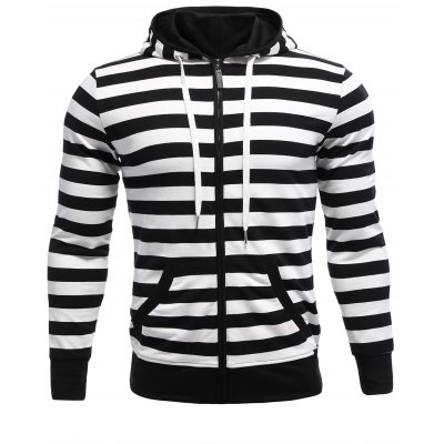 Striped Zip Up Black and White Hoodie men