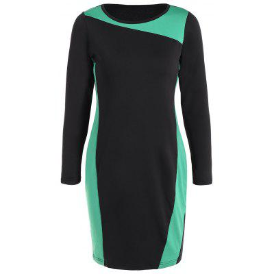 Buy GREEN Sheath Plus Size Color Block Work Dress for $21.23 in GearBest store